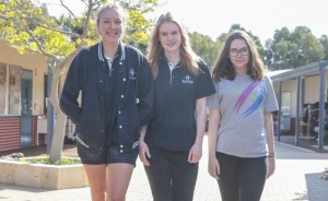 Bold Park Community School is adopting a different approach to mental wellbeing with its students by getting them involved in designing the programs Students Nicola Burns, Sophia Witte and Chloe Roberts. Picture: Robert Duncan The West Australian